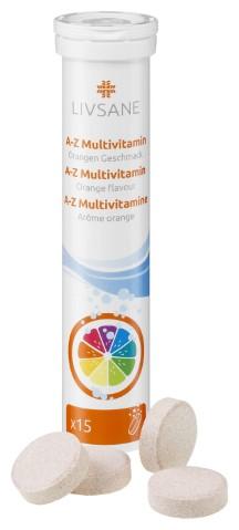 Livsane - LIVSANE A-Z Multivitamín šumivé tablety, príchuť pomaranč 1x15 ks